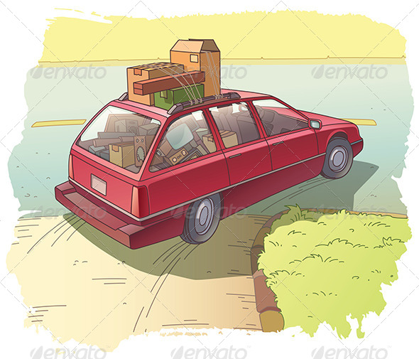 GraphicRiver Red Station Wagon with a Cargo 7984104