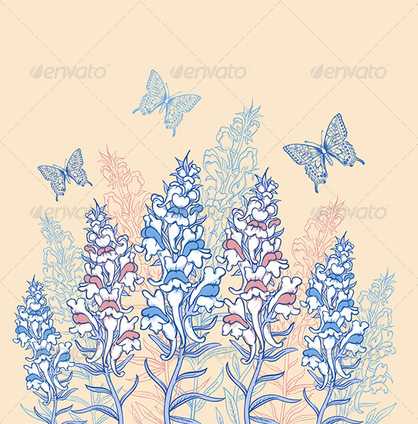 GraphicRiver Blue and Pink Wildflowers 7984737