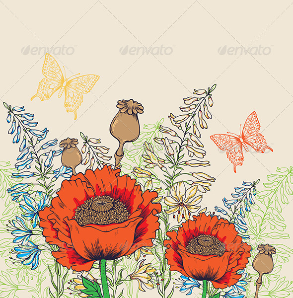 GraphicRiver Background with Red Poppies 7985229