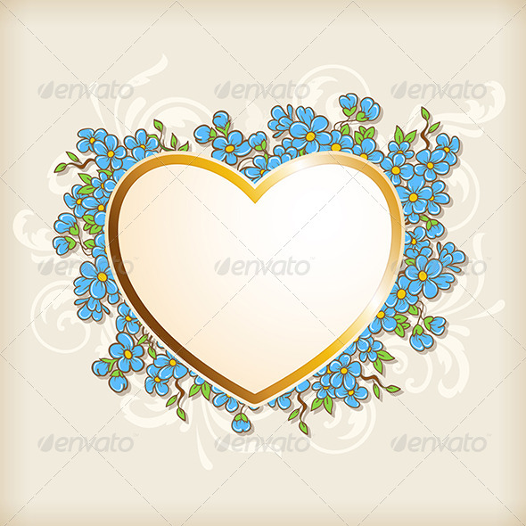 GraphicRiver Golden Heart and Blue Flowers 7985442