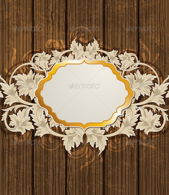 GraphicRiver Wooden Background and Golden Label 7985682