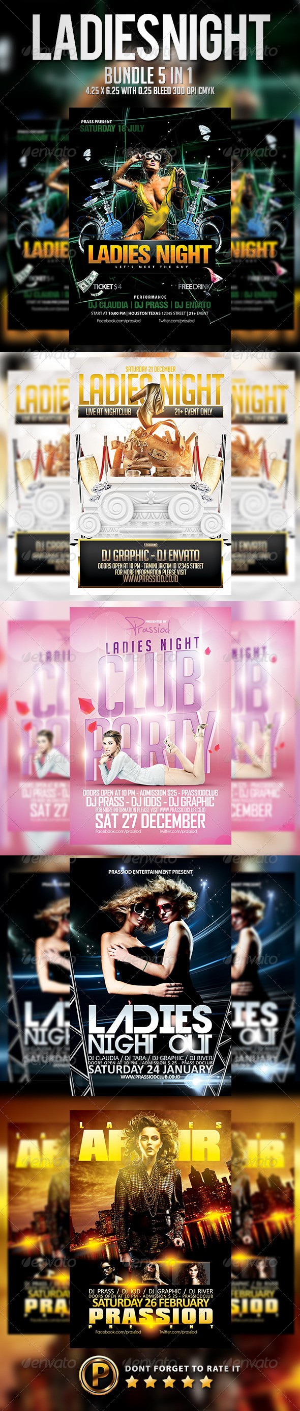 Ladies Night Flyer Template - Bundle 5 in 1 - Clubs & Parties Events