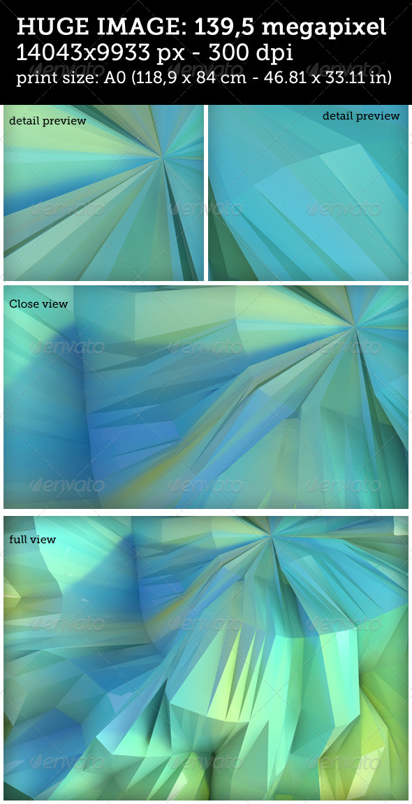 GraphicRiver Huge Low Poly Blue and Green Reflective Background 7985723
