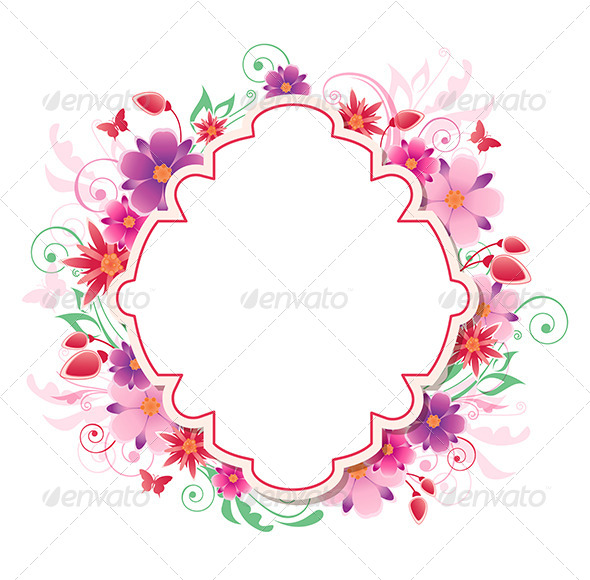 GraphicRiver Background with Red and Pink Flowers 7985730