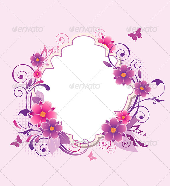 GraphicRiver Background with Pink and Violet Flowers 7985757