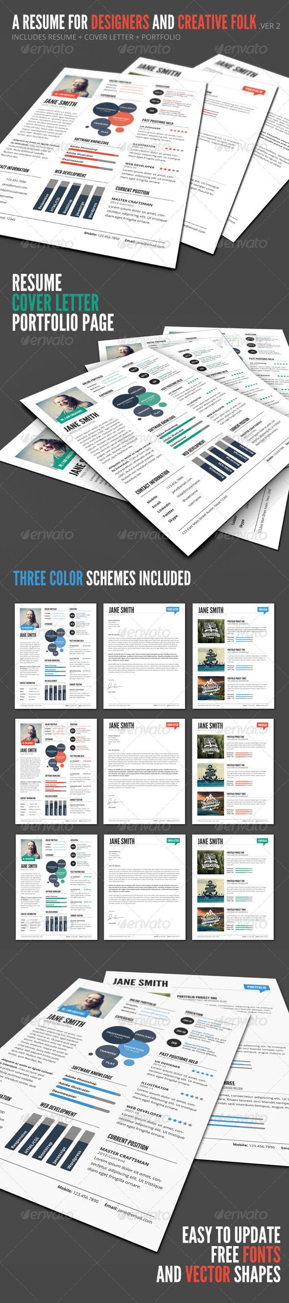 InfoGraphic Style Resume Template - Ver 2