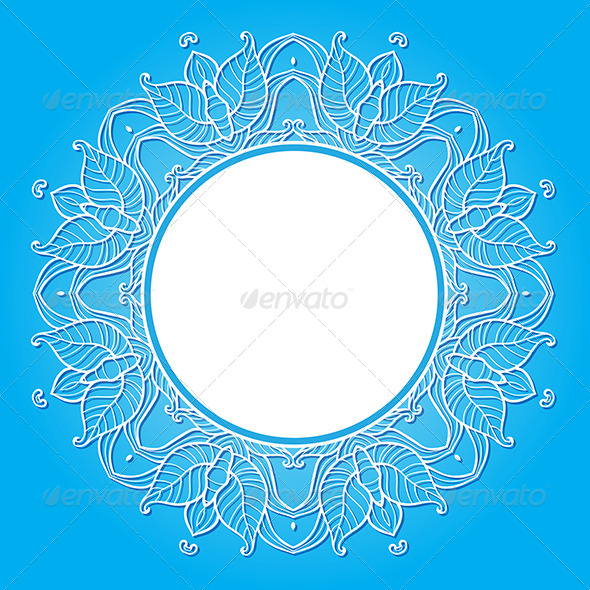 GraphicRiver Floral Frame on a Blue Background 7985811
