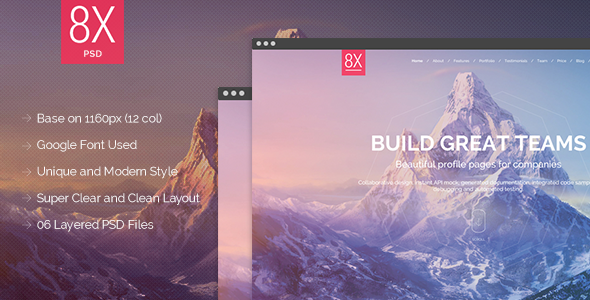 ThemeForest 8X Supertheme Onepage PSD Template 7942996