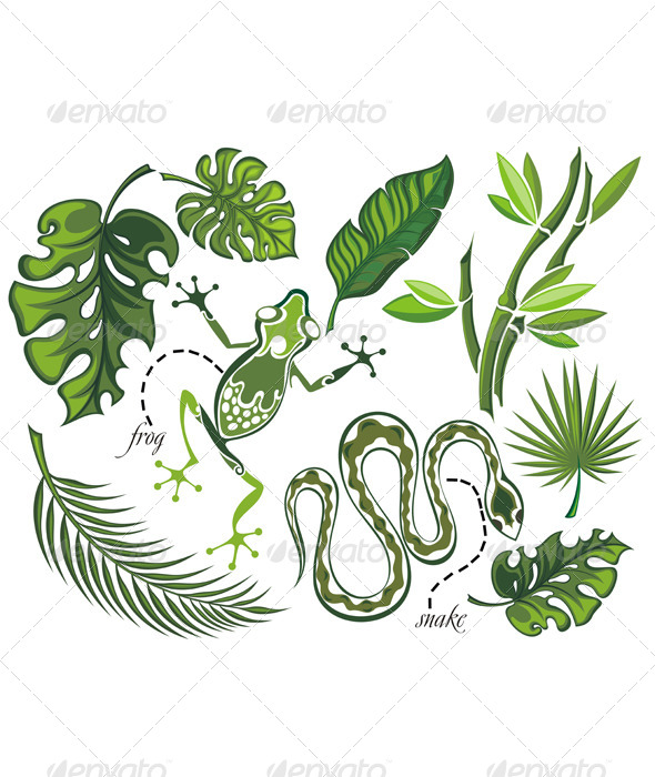 GraphicRiver Set of Tropical Leaves and Reptiles 7985815