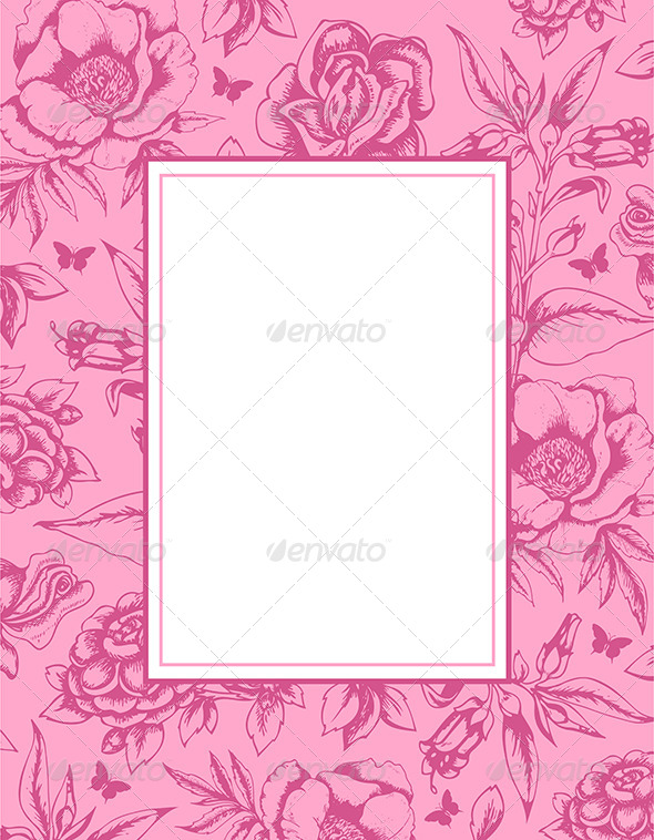 GraphicRiver Vintage Background with Frame and Flowers 7985847
