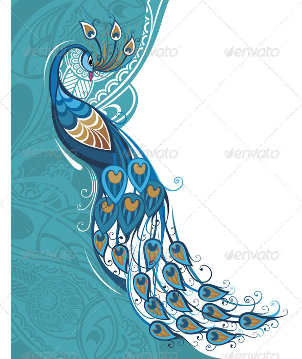 GraphicRiver Peacock Card 7985873