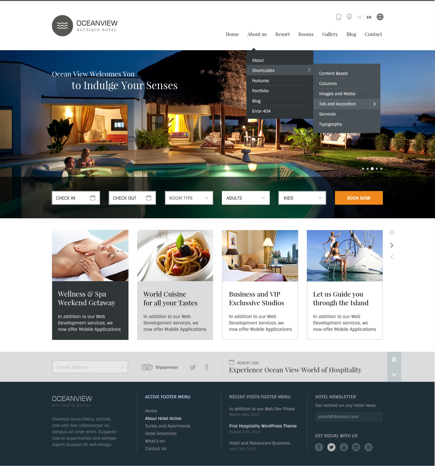 Ocean view hotel website html template by basepixels for Hotel web design