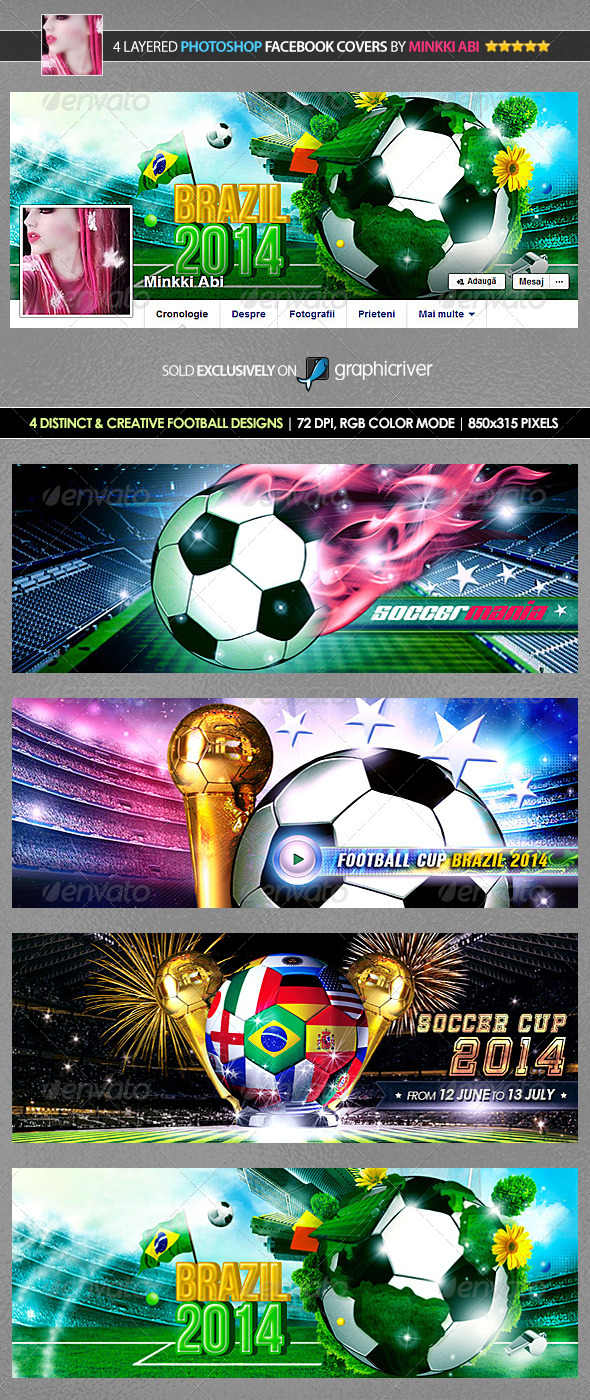 GraphicRiver 4 Football Facebook Covers 7986499