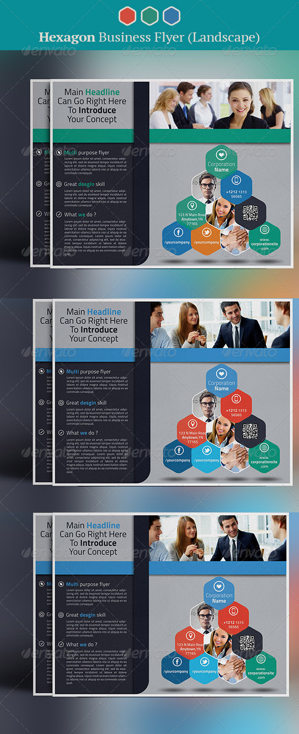 GraphicRiver Hexagon Business Flyer Landscape 7986672
