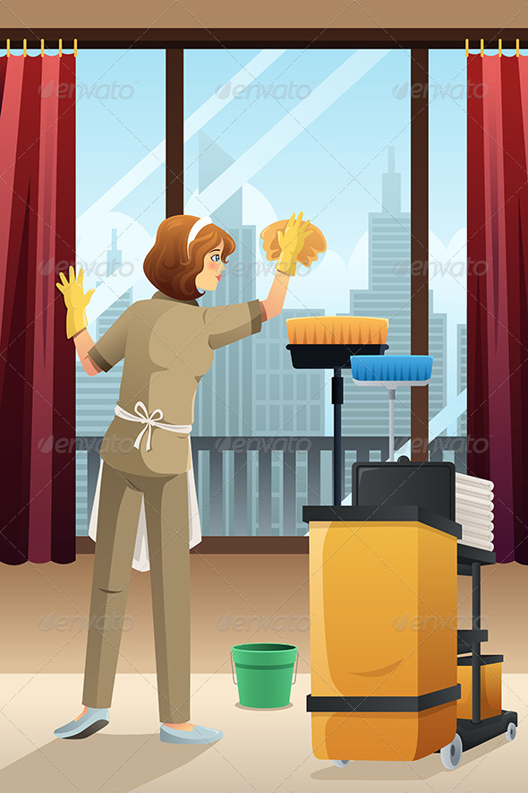 GraphicRiver Janitor Cleaning Room 7986840