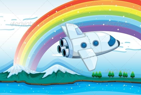 GraphicRiver A Jetplane Near a Rainbow 7986860