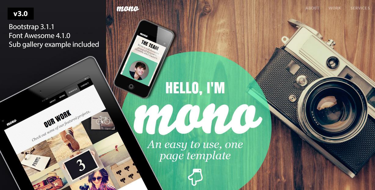 Mono - A One Page Portfolio Template