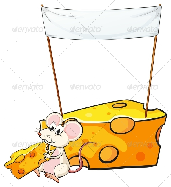 Empty Banner Above a Mouse with Cheese