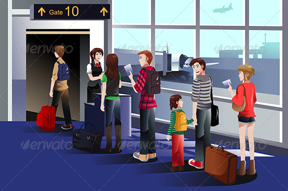GraphicRiver People Boarding Plane 7987039