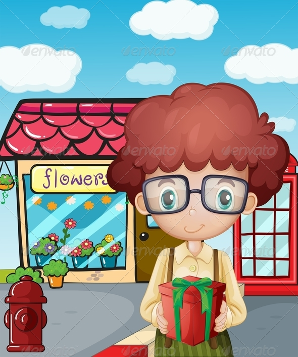GraphicRiver Girl in front of Flower Shop 7987100