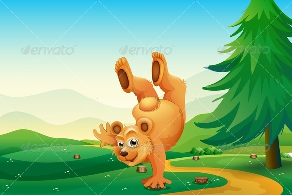 GraphicRiver Bear playing in Forest 7987132