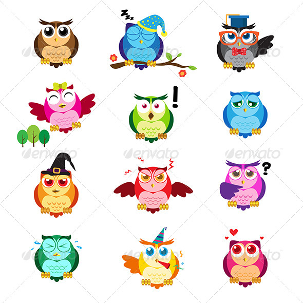 GraphicRiver Owls with Different Expressions 7987155