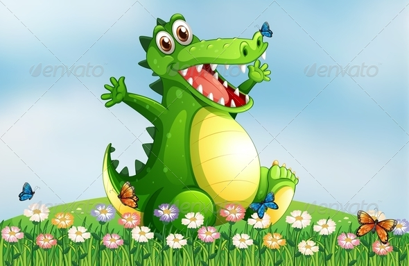 GraphicRiver Hilltop with a Smiling Crocodile 7987166