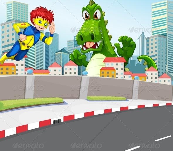 GraphicRiver Superhero and Crocodile in City 7987226