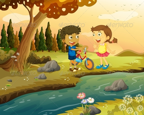 A Boy and a Girl with a Bike Standing at the River