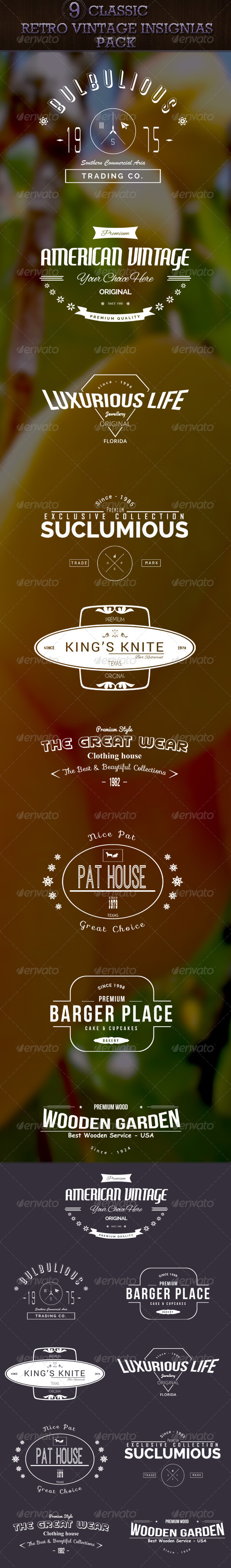 GraphicRiver Classic Retro Vintage and Insignias Pack 7987275