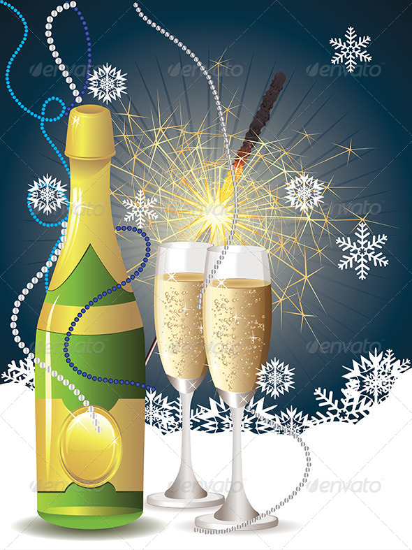 GraphicRiver Champagne and Sparkler 7987320