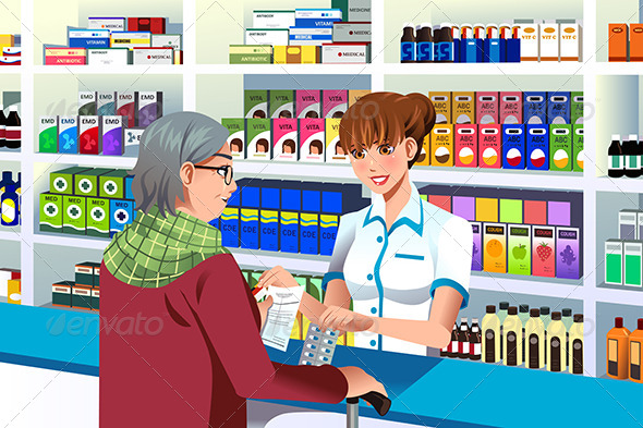 GraphicRiver Pharmacist Helping an Elderly Person 7987389