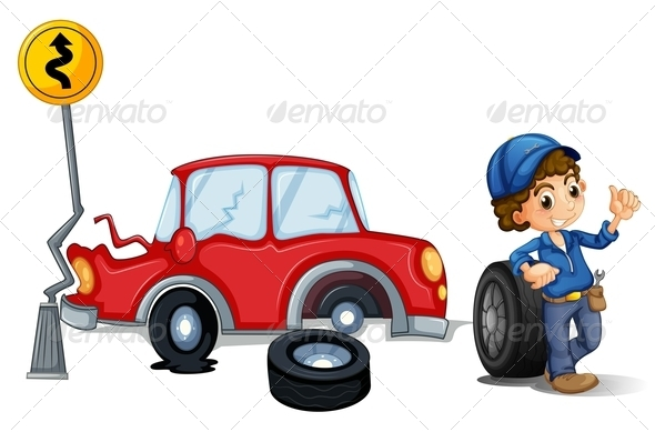 GraphicRiver Mechanic near Car Accident 7987517