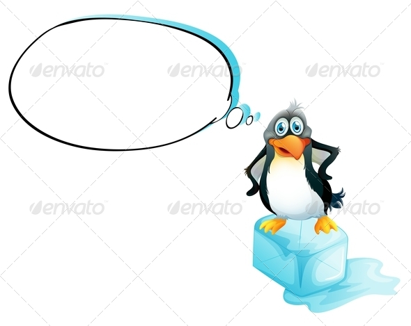 GraphicRiver Penguin Standing Above an Icecube 7987527