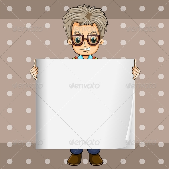 GraphicRiver Angry Man Holding an Empty Signboard 7987534