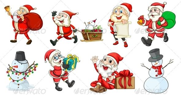 GraphicRiver Santa Claus and the Snowmen 7987617