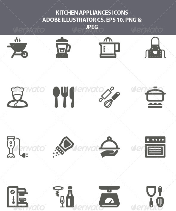 GraphicRiver Kitchen Appliances Icons 7987762