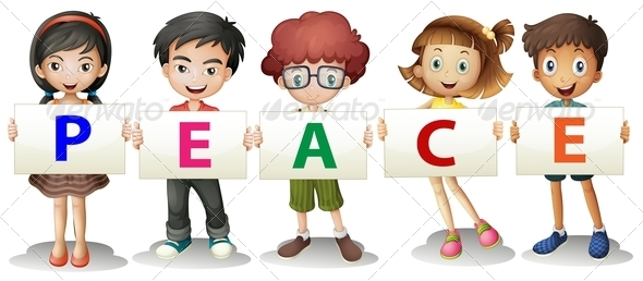 GraphicRiver Kids Holding Letters of Peace 7987803