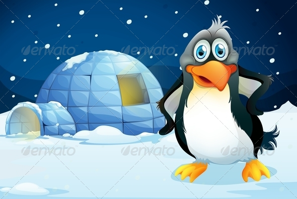 GraphicRiver A Penguin Standing Near an Igloo 7987832