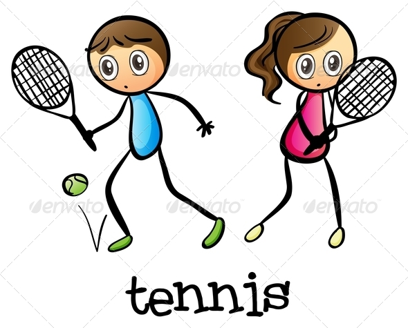 GraphicRiver Girl and a Boy Playing Tennis 7987841