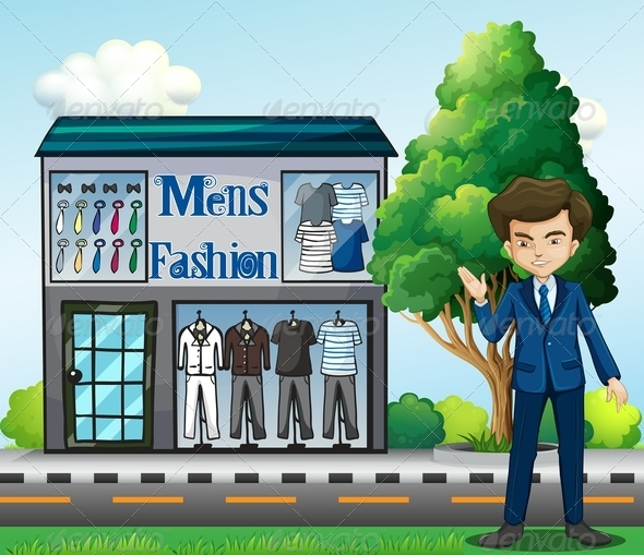 GraphicRiver Business Owner Outside a Men s fashion Shop 7987854