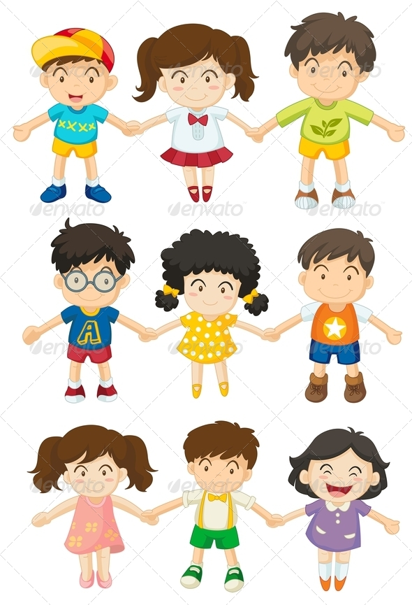 GraphicRiver Kids Holding Hands 7987972