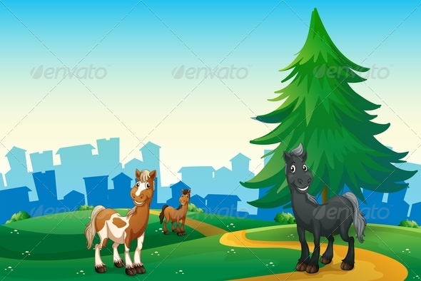 GraphicRiver Three Horses on a Hilltop Across from a Village 7988057