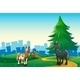 Three Horses on a Hilltop Across from a Village - GraphicRiver Item for Sale
