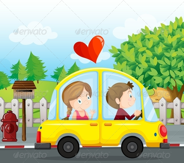 GraphicRiver Couple Riding in a Yellow Car 7988102