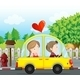 Couple Riding in a Yellow Car - GraphicRiver Item for Sale
