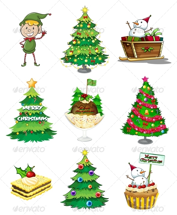GraphicRiver Santa Elf with Other Christmas Decorations 7988136