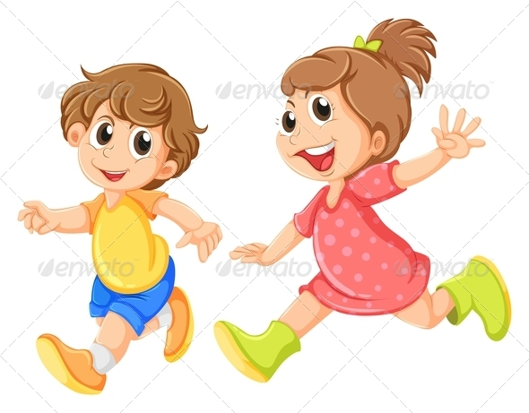 GraphicRiver A Small Girl and a Small Boy Playing 7988262