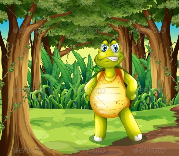 GraphicRiver A Forest with a Turtle Standing in the Middle 7988340