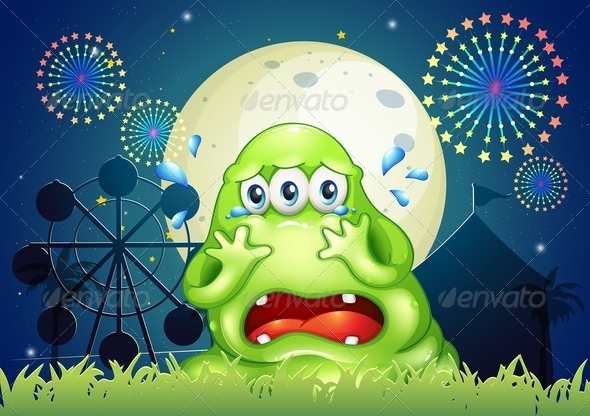 GraphicRiver A Three-Eyed Monster Crying at the Carnival 7988529